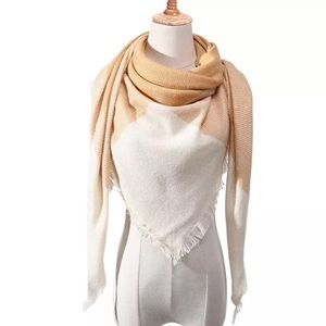 Accessories - NEW Fringe Blanket Scarf Shawl in Camel & Ivory